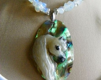 Arabian Horse Head Shell Pendant Necklace