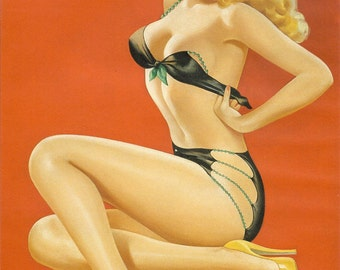 Pin Up Girl - Black Bikini or Naked Beauty - to Frame or for Paper Arts, Mixed Media and MORE PSS 1785