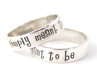Nightmare Rings - Jack & Sally Wedding Bands - Simply Meant to Be - Pair of Sterling Silver His and Hers Wedding Bands