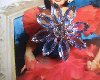 50s 60s flower brooch pin rhinestone vintage mid century costume jewelry open back navette glass glitzy sparkle crystal