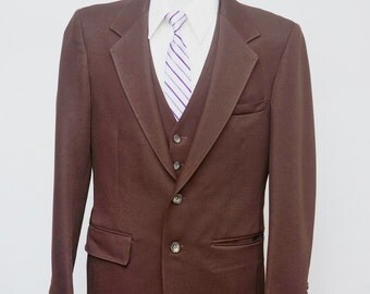 Men's Blazer and Suit Vest / Vintage Brown Jacket and Waistcoat / Size 38 Short