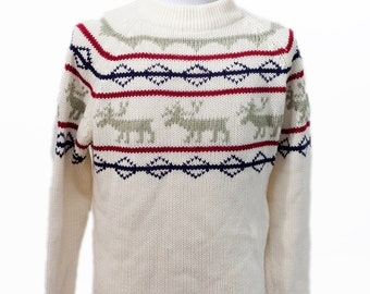 Men's Sweater / Vintage Nordic Reindeer Knit / Size Medium