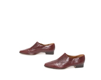 size 10 CHELSEA oxblood leather 80s WESTERN slip on ankle boots