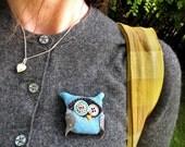 Blue Polka Dot Owl Pin / Brooch
