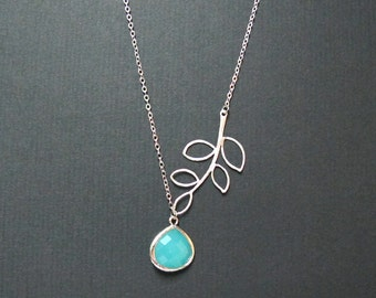 Branch Leaves dangled with Turquoise Tear Drop  Glass Pendant Necklace. Everyday Jewelry Wedding Bridesmaid Gift, Friendship Sistership Gift