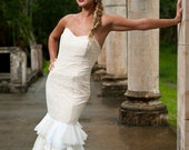 RCB lace mermaid fit layered bottom custom wedding gown