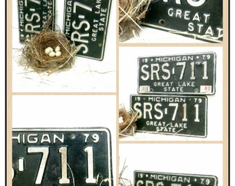 2 Matching License Plate, Pair, Michigan, SALE, Gift for him, SRS, 1970s, Great Lakes, Photo Prop, Man Cave, Auto, Numbers, Industrial, sign