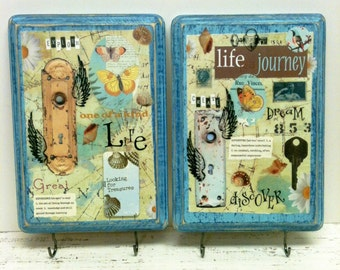 Wedding Gift, Gift for Her, TWO Pieces, Dorm Room, Journey, Key Hooks, Jewelry Organizer, Jewelry Display, Key Hooks, Wall Hook, Bridal Gift