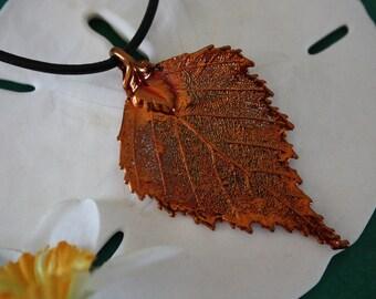 Leaf Necklace Copper, Real Leaf, Leaf Pendant, Birch Leaf, 10