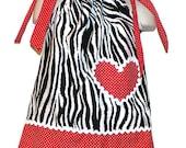 Pillowcase Zebra Print Dress Heart Applique Baby toddler