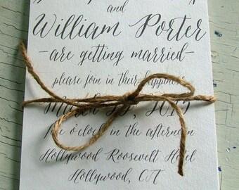 Wedding invitations, Simple Wedding Invitation, Gray Invitation, Handwritten Invitations, Modern Invitation, Black and White - DEPOSIT