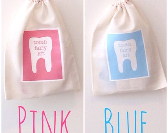 TOOTH fairy kit.  letter from the tooth fairy. pink or blue design.