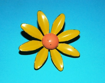 1960's Flower Jewelry Pin Retro, Yellow & Pink Flower Pin, Floral Daisy Wild Flower Pin, Retro