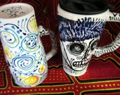 Vincent's Starry Night Skull Custom 16 oz Ceramic Travel Mug Handpainted Design for Day of the Dead and Beyond