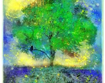 Firefly summer night, 17x22, Art, photography, nature, mixed media photo, original, blue decor, tree art, #green wall art, Gina Signore