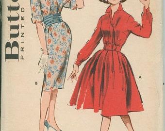 1960s Butterick 9010 Full Skirt Rockabilly Dress Sewing Pattern Vintage Size 11 Shirt Dress Wiggle skirt UNCUT