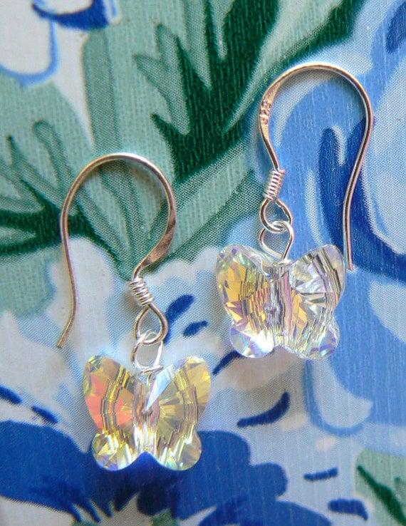 Clear AB Swarovski Crystal Butterfly Earrings