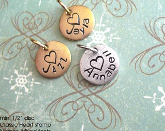 Children's Name Charms.. Curved with Heart. Mini Circle Disc. Customize, Personalize, Monogram, Love, Initials, Monogram, Sweet Tag Antiqued