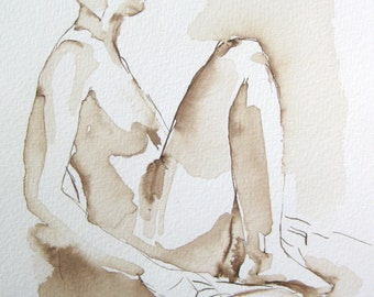 Life Drawing -- Female Seated with Knees - Original Ink on Paper