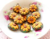 6pcs Mediterranean Rustic Style - Flower Peg Charms - GBSY01