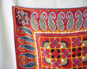 Vintage Scarf - Red Square Acetate - 1960s Paisley and Flower - Two Vintage Scarves
