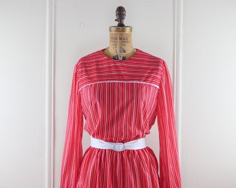 1980s Cranberry Red Striped Secretary Dress - size medium to large