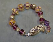 Lampwork Artisan Vineyard Dots Lampwork Beaded Bracelet in Sterling Silver - SRAJD