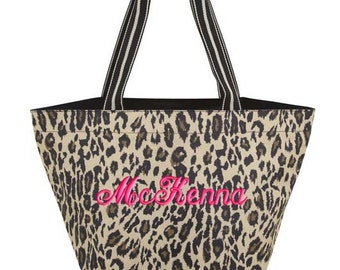 Personalized Tote Bag Leopard Monogrammed Bookbag Wedding Bridesmaid