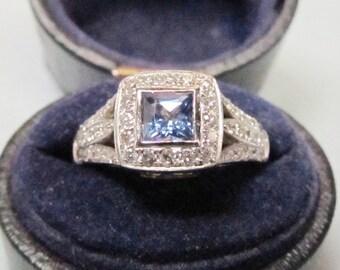 Baby Blue Square Tanzanite and Diamond Ring