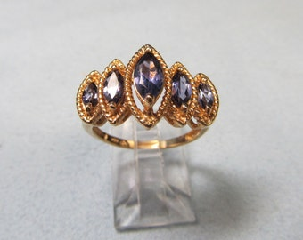 Rope Swing Retro 10 Karat Gold and Marquise Cut Iolite Cocktail Ring