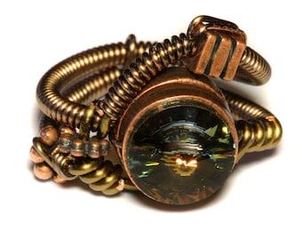 Steampunk Jewelry - Steampunk Wire Ring with Tabac Swarovski Crystal