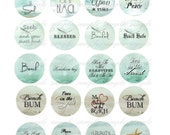 INSTANT DOWNLOAD - 1 Inch Circles  - Beach Sayings -  Printable Digital Collage Sheet - Digital Download