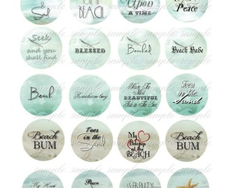 INSTANT DOWNLOAD - 1 Inch Circles  - Beach Sayings -  Printable Digital Collage Sheet - Digital Download