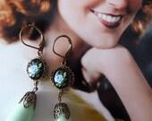 Vintage Style Rose Earrings - Mint Green Drops - Blue Rose - Victorian Style - Belle Epoque II Earrings (SD0713)