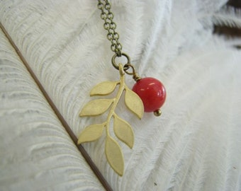 Necklace red coral bead and gold plated ash leafe.  necklace Antique Brass chain adorned with red coral bead and ash leafe