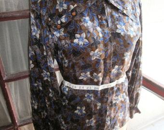 70s Vintage Betty Hanson designer silk blouse - convertable cowl neck, rounded shoulders.