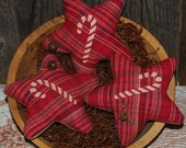 Christmas Candy Cane Fabric Stars Bowl Fillers Red Tucks Primitive Ornies