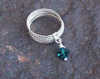 Ring, Vintage Silver 7 Band Dangle Birthstone Ring- May