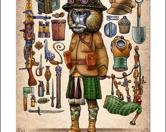 "Angus Wakefield McCrackendish- 11"" x 14"" Art Print- Steampunk Monkey Nation Portrait- Whimsical Monkey Wall Decor"