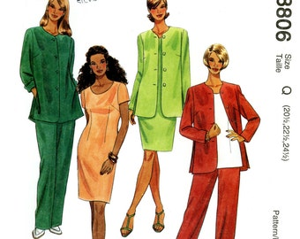 McCall's 8806 Unlined Jacket, Dress, Top and Pull On Pants Size 20 22 24 UNCUT Sewing Pattern 1997