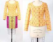 Christian Lacroix suit set    vintage cotton jacquard skirt suit set   Christian Lacroix blazer   XXS