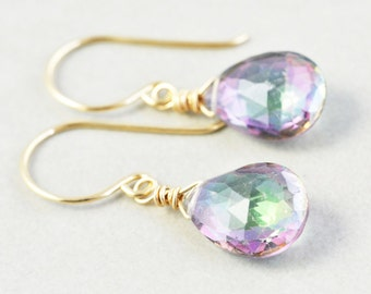 Mystic Topaz Dangle Earrings, Gemstone Drop Earrings, Purple Green Drop Earrings