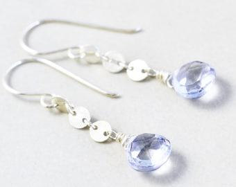 Blue Quartz Dangle Earrings, Sterling Silver Earrings, Handmade