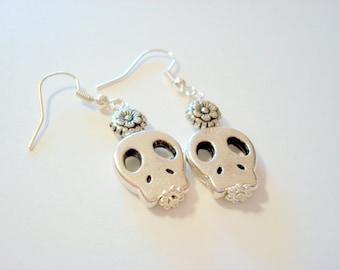 Simple Silver Sugar Skull and Flower Earrings
