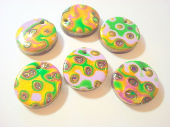 Mardi Gras Colors Handmade Polymer Clay  20mm Focal Beads