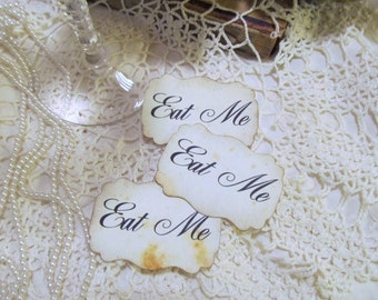 Eat Me or Drink Me or Take Me Party Favor Adhesive Stickers Distressed - script font - rustic wedding -  Set of 18 - Alice in Wonderland