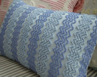 Vintage Chenille Down Pillow/Vintage Bedspread Fabric/French Blue/Cottage/Shabby Chic/Lumbar/Beach Decor/Decorative Throw Pillow/Nursery