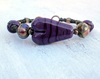 Purple Heart - Wire, Ceramic and Lampwork Glass Bangle Bracelet
