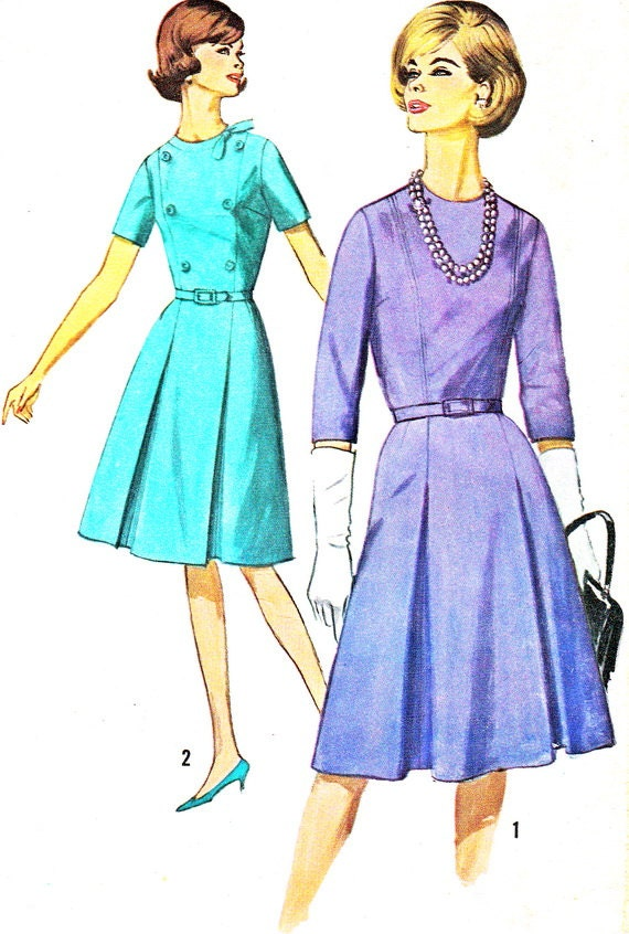 1960s dress pattern simplicity 5581 pleated by