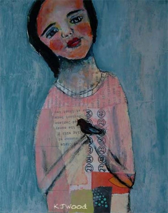 Original Acrylic Portrait Figure Painting Girl holding black bird in hand, Unless There is Loyalty